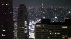 High-rise buildings and Sky Tree Tower in Tokyo city, Japan Stock Footage
