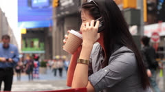 Woman Talking on Cell in Timesquare NYC Stock Footage