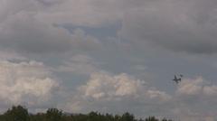 Stock Video Footage of Aerobatics - Eurofighter intercepting Hercules - nat. sound