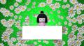 cartoon japanese woman looks at blank signboard Footage
