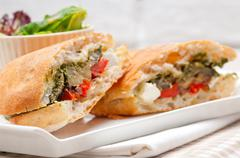 ciabatta panini sandwichwith vegetable and feta - stock photo