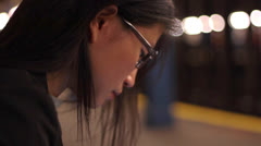 Close Up Woman Using Tablet in Subway Station Stock Footage
