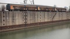 Railways Dock in Dusseldorf Germany Stock Footage