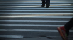 Feet and Strollers on Crosswalk Stock Footage
