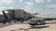 Stock Video Footage of Air Ambulance Helicopter Takeoff