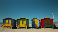 Muizenberg beach huts Stock Footage