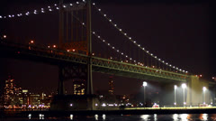 NYC Queensboro Bridge at Night Stock Footage