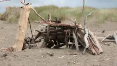 Beach shelter hut from driftwood Pacific Ocean California HD 5870 Stock Footage