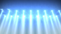 Concert lights flood animation, bright, blue, white, stage. - stock footage