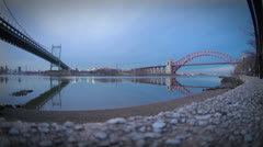 A Very Calm East River with Bridges Stock Footage