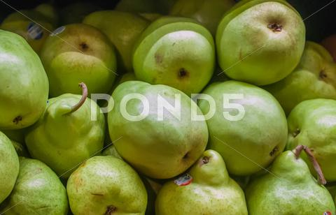 Stock photo of pears on display at farmers market