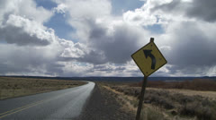 Rural Highway, Road Sign, Clouds Time Lapse Stock Footage