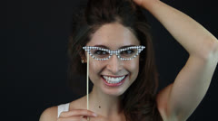 Young Lady Playing with Specs Stock Footage