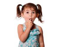 surprised little toddler girl - stock photo