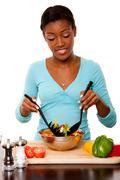 Health conscious - tossing salad Stock Photos