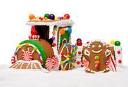 Winter holiday gingerbread polar express train Stock Photos