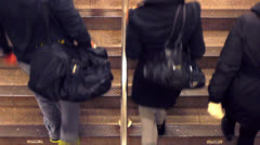 Subway Commuters - Aerial View - stock footage
