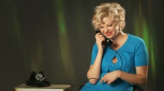 Blonde Retro Phone Laughing Stock Footage