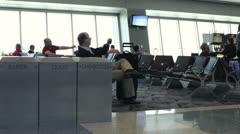 People waiting in Las Vegas airport Stock Footage