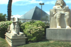 Luxor Hotel/Casino statues - stock footage