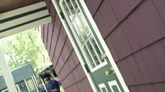 Burglar Trying Door 30P Stock Footage