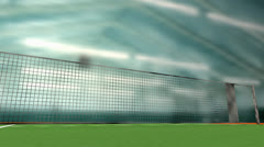 Tennis court, facility, sport, racket, indoor. Stock Footage