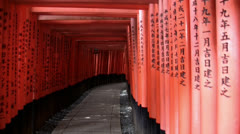 Fushimi Inari Shrine Torii Gate walkway Stock Footage