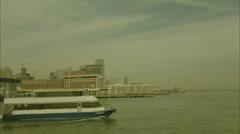 New York City Ferry Towards Shore Grainy HD Video Stock Footage