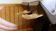 Taking napkins from dispenser Stock Footage