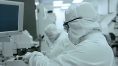 Clean Room Technicians At Work 2S Stock Footage