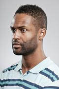 african american man blank expression - stock photo