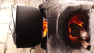 Stock Video Footage of concrete wood fired stove