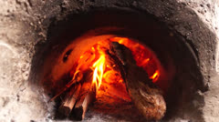Concrete wood fired stove Stock Footage