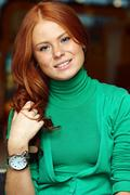 Stock Photo of young beautiful redhair woman