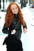 winter woman in rest snow park - stock photo