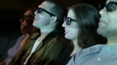 Young Woman Enjoys 3D Movie Stock Footage
