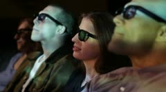 Young Woman Reacts To 3D Movie Stock Footage