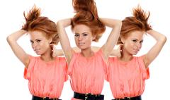 beautiful girls with red hair - stock photo