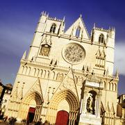 Saint jean cathedral in lyon city, france Stock Photos