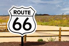 Historic route 66 road sign Stock Photos