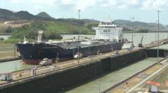 Tverskoy bridge tanker enters Panama Canal Stock Footage