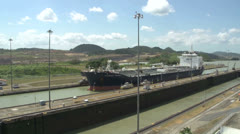 Tverskoy bridge tanker enters Panama Canal miraflores locks Stock Footage