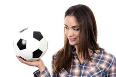 beautiful woman with ball - stock photo