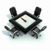 Meeting time - table with a large clock - stock illustration