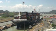 Big ship entering Panama Canal miraflores locks Stock Footage