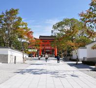 Beautiful red torii in fujimi-inari in japan Stock Photos