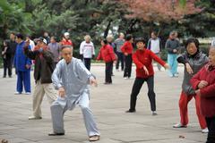 Tai chi exercise in Shanghai - stock photo