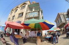street vendors in kashgar - stock photo