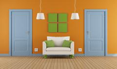 colorful interior  doors and armchair - stock illustration