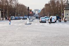 avenues des champs elysees in paris - stock photo